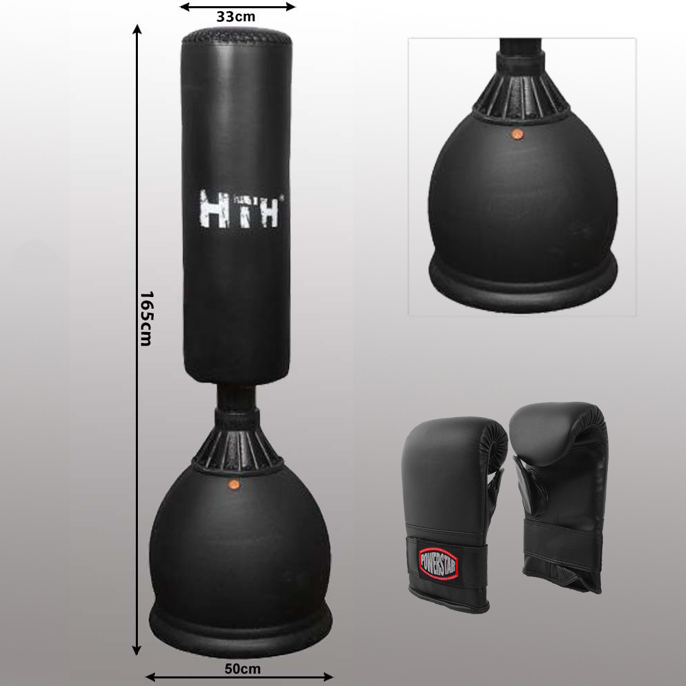 Free Standing Punch Bag With Heavy Base Filled Water Or Sand Up To 150 Kg And Mitts By Hth
