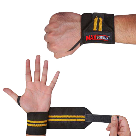 G231 weight lifting wrist wraps Yellow & Black